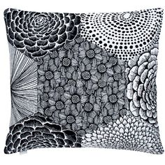 Ruut cushion from Lapuan Kankurit, modern floral pattern in a contemporary patchwork design, feminine without being too frilly. Perfect for a cool, stylish home accessory in timeless black & white. Match with the throw in the same pattern. Finnish quality & design.