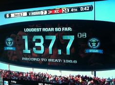 Arrowhead Stadium, home of the Kansas City Chiefs now holds world record for loudest stadium in the world with a roar of 137.7 decibels today against the Raiders. 10/13/13