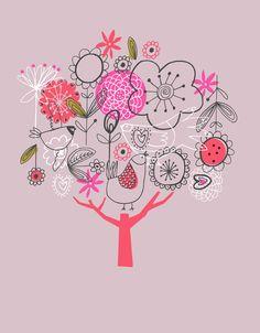 inspiration, tree, dawn bishop, illustrations, doodles, screens, easter eggs, flowers, birds