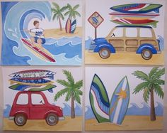 Found this for Zach's room!! Perfect! SURF'S UP ALOHA boy surfing art prints beach 8x10 kids by terezief, $20.00