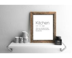Kitchen Definition, Foyer Wall Decor, Online Printing Companies, Family Print, Affordable Wall Art, Foyer Design, In This House We, Kitchen Wall Art, Minimalist Poster