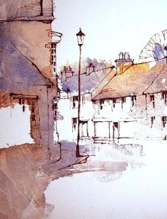 Pen And Watercolor, Watercolor Landscape, Landscape Paintings, Watercolor Paintings, Watercolors, Watercolor Architecture, Art And Architecture, Pen And Wash, Ink In Water