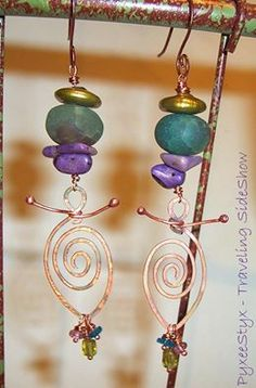 """""""Dancing Goddess"""" earrings. Available at the Elite Artisan jewelry showcase until 5pm PT, Wednesday Oct, 8th.  #PyxeeStyx #TravelingSideShow #SRAJD https://www.facebook.com/groups/EliteArtisanJewelryShowcase/?fref=ts"""
