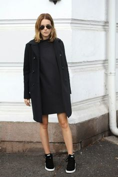 black coat, styling, black dress
