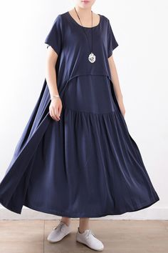efc8e7a32f Beautiful patchwork exra large hem silk clothes Fitted Neckline dull blue  Maxi Dresses Summer