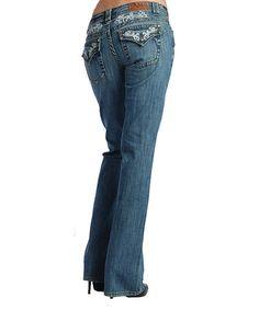 Light Stone Wash Scroll Low-Rise Bootcut Jeans - Women #zulily #zulilyfinds