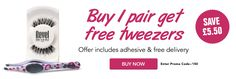 Order 1 pair of strip lashes for only £6.50, offer includes  adhesive, 2 free tweezers & free delivery. While stocks last.