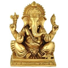 Ganesha the Elephant God Online from Ganges India at best prices. Ganesha, Idol, Lion Sculpture, Elephant, Bronze, Brass, Traditional, Statues, Festivals