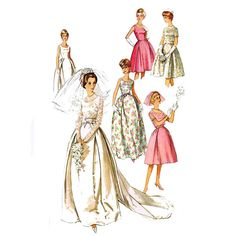 1960s Vintage Wedding Dress Pattern Simplicity 5343 Evening Dress 31.5 Bust Bridesmaid Dress Vintage Sewing Pattern on Etsy, $19.93
