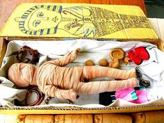 Egypt display, student projects, mummy and coffin (from Miss Tyler-Smith's Class)