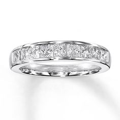 Diamond Anniversary Band 1 ct tw Princess-cut 14K White Gold!! My newest wedding ring!! I love my hubby!!