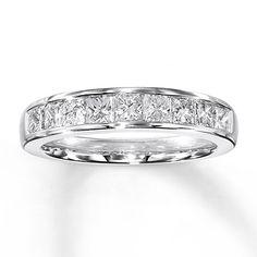 Diamond Anniversary Band 1 ct tw Princess-cut 14K White Gold!! My newest wedding ring!! I love my hubby!!