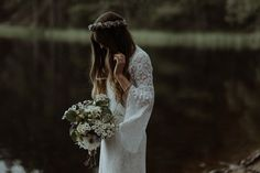 THE KITCHENERS / wedding photographers   Jen wore a 1970's dress for her vintage, bohemian and nature inspired forest wedding at The Dell of Abernethy at Abernethy Bridge in the Scottish Highlands. Photography by The Kitcheners.