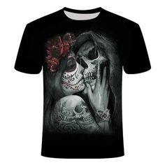 Sugar Skull Lady's Kiss T-Shirt | Skullflow Cashmere Sweater Men, Mens Turtleneck, Gothic Shirts, Tee Shirt Homme, Skull Shirts, Cheap T Shirts, Printed Shirts, Casual Shirts, Mens Tops