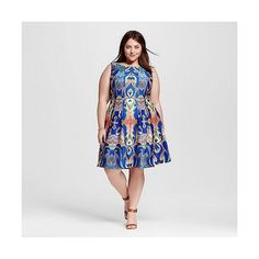 Women's Plus Size Sleeveless Printed A-Line Dress Periwinkle Coral  -... ($55) ❤ liked on Polyvore featuring plus size women's fashion, plus size clothing, plus size dresses, plus size, plus size day dresses, periwinkle dress, a line dress and sleeveless dress