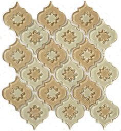 Pacific Tile Company  Water Jet Glass Series, Arabesque, Ornamental, Glossy, Cream/Beige, Glass