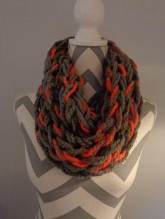 Arm Knitted Infinity Scarf/Cowl by IdleHandsCrochetKnit on Etsy