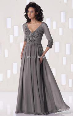 Dark Grey Floor-length Custom-made V-neck A-line Chiffon Appliques 3/4 Sleeves BeadedMother Dresses, $157.07   DHgate.com
