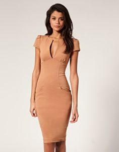 ASOS Ponti Pencil Dress with Pockets in the style of Victoria Beckham