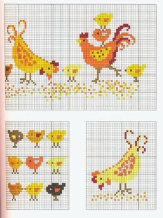 Chicken, rooster and baby chicken! Rooster Cross Stitch, Chicken Cross Stitch, Cross Stitch Kitchen, Mini Cross Stitch, Beaded Cross Stitch, Cross Stitch Borders, Cross Stitch Animals, Cross Stitch Designs, Cross Stitching