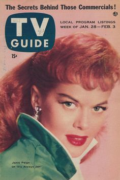 Janis Paige on TV Guide - January 28 - February 1956 Janis Paige, Vintage Redhead, Tony Martin, Broadcast News, 60s Tv, Vintage Tv, Vintage Magazines, Vintage Antiques, Vintage Television