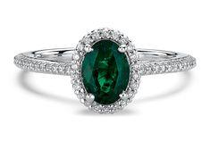 Carina Oval Green Emerald Halo Gemstone Engagement Ring