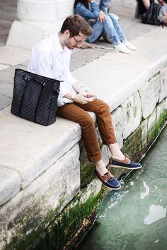 Shop this look on Kaleidoscope (shirt, pants, shoes, watch, tote)  http://kalei.do/WAjlBGo0dLZj0twP