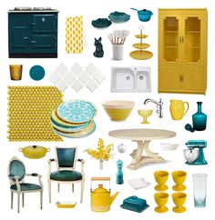 """""""yellow + teal kitchen"""" by crystalliora ❤ liked on Polyvore featuring interior, interiors, interior design, home, home decor, interior decorating, Merola, Maxwell & Williams, Le Creuset and GAS Jeans"""