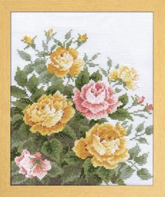 Japanese Cross Stitch Kit Modern, Yellow Rose, Intermediate, Megumi Onoe, Embroidery DIY Kit, Stitch Tutorial, Hand Embroidery Design, EK036
