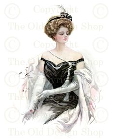 AFTER THE DANCE Harrison Fisher Victorian Lady by TheOldDesignShop, $4.00