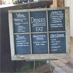 rustic chalkboard drinks menu sign
