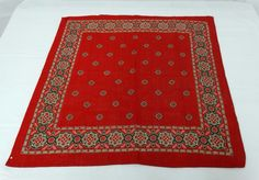 ANTIQUE 1890'S BANDANA HANDKERCHIEF TURKEY RED COTTON MEDALLION DESIGN BORDER