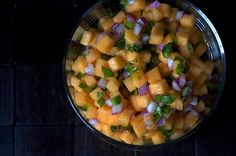 Cantaloupe Salsa RecipeIngredients 2 cups cantaloupe (diced, 1/4 inch, from a 2 1/4-lb piece) 1/4 cup sweet onion (diced, 1/4 inch, such as Vidalia or red onion) 2 tbsps fresh basil (chopped, or cilantro) 2 inches green chile (or long fresh hot red, skip the seeds if you want to dim the heat, minced) 2 tbsps fresh lime juice 1/4 tsp salt