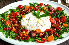 Burrata with Pickled Cherry Peppers and Tomatoes Appetizer Recipes, Salad Recipes, Appetizers, Pickled Cherries, Vegetarian Recipes, Healthy Recipes, Recipe Using, Caprese Salad, Tomatoes