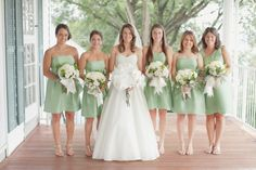 Strapless green bridesmaids dresses | photography by http://www.elisabethmillay.com/