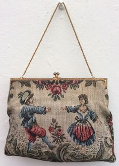 VINTAGE 1930s 1940s PETIT POINT EMBROIDERED TAPESTRY EVENING BAG  | eBay