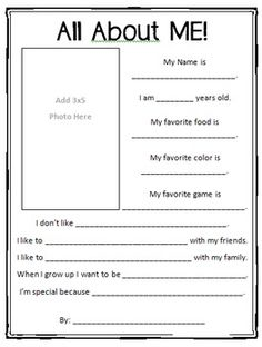 $1.00 - All About Me! Printable - This printable worksheet is great for star student, beginning of the year introductions, or self-esteem development. Includes space to answer questions about likes, talents, and interests. Also has space for a 3x5 photo!