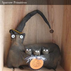Primitive Witch Cat & Kittens by Sparrow Primitives, via Flickr