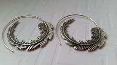 Feather Earrings Sterling Silver Hoops by CandiceRuhlDesigns
