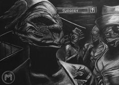 Silent Hill – one of myfirsthorror survive games. The most popular game's characters are nurseswith deformed faces.Pencil drawingSize:A3 black paperMedia:K...