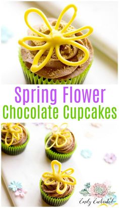 Spring Flower Cupcakes   Chocolate Easter Cupcakes #recipe #dessert #cupcakes #easter #chocolate