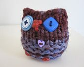 Knitted Plush Owl Hand Made Stuffed Animal Toy by WoodsyWools