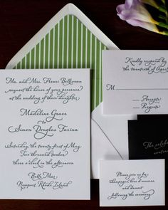 Letterpress Calligraphy: Graceful calligraphy is jazzed up with a preppy green envelope liner.