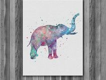 Elephant animal Printable Watercolor art print