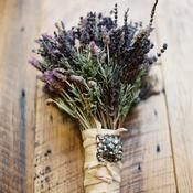 Fresh lavender with a vintage brooch. Wrap with burlap or twine for a more rustic feel