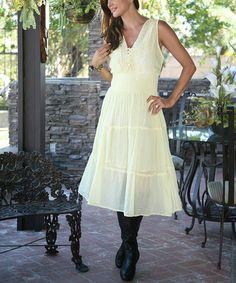 Another great find on #zulily! Ivory Eyelet Button-Up Sleeveless Maxi Dress - Women #zulilyfinds