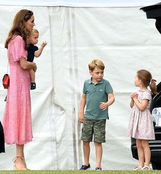 Prince George, Princess Charlotte, Prince Louis and Kate Middleton at King Power Royal Charity Polo Day at Billingbear Polo Club in Berkshire Prince William Family, Prince William And Kate, William Kate, George Of Cambridge, Duchess Of Cambridge, Diana, Prince George Alexander Louis, Polo Match, Royal Babies