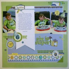 Six is Super Layout by Jaclyn Maynard Rench using Jillibean Sou's Spotted Owl Collection.  This is the winning layout for the April 2012 Sketch Contest (via the Jillibean Soup Blog).