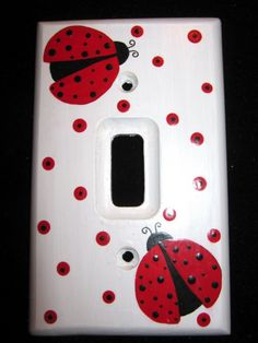 LADY BUGS  Single Switch Plate Cover  Hand by dreamscapedesigns, $13.00