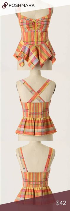 NWOT Odille plaid corset top Sweet madras plaid corset peplum top with ruching at bust, smocked back and exposed front zipper. Straps are convertible from regular to cross cross. Anthropologie Tops